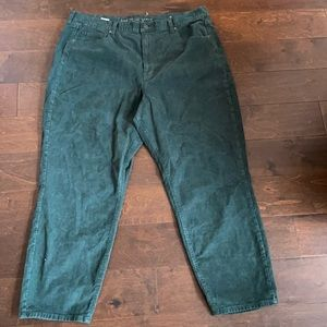 American Eagle Size 20 R Green Corduroy Mom Jean